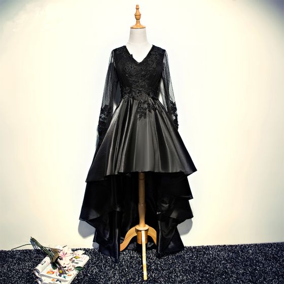 Mooie / Prachtige Zwarte Cocktailjurken 2017 A lijn Kant Kristal Kralen V-Hals Ruglooze Asymmetrisch Gelegenheid Jurken