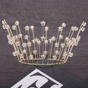 Sencillos Oro Tocados de novia 2019 Metal Estrella Crystal Tiara Boda Accesorios