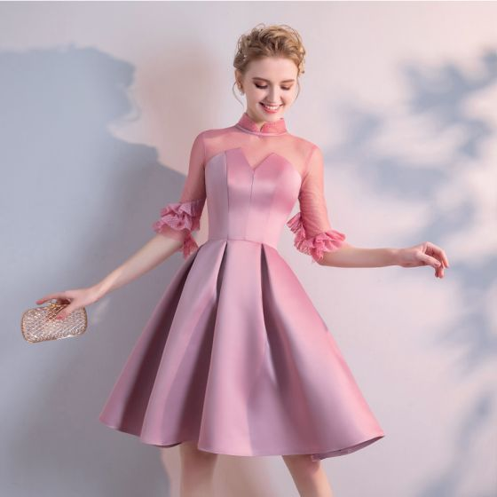 Chic / Beautiful Candy Pink Homecoming Graduation Dresses 2020 A-Line / Princess High Neck 1/2 Sleeves Knee-Length Formal Dresses