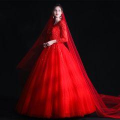 Bescheidenes Muslimisches Rot Brautkleider / Hochzeitskleider 2020 Ballkleid Durchsichtige Eckiger Ausschnitt Lange Ärmel Applikationen Spitze Perlenstickerei Lange Rüschen