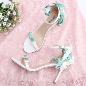 Lovely Mint Green Dating Pearl Bow Womens Sandals 2020 9 cm Stiletto Heels Open / Peep Toe Sandals
