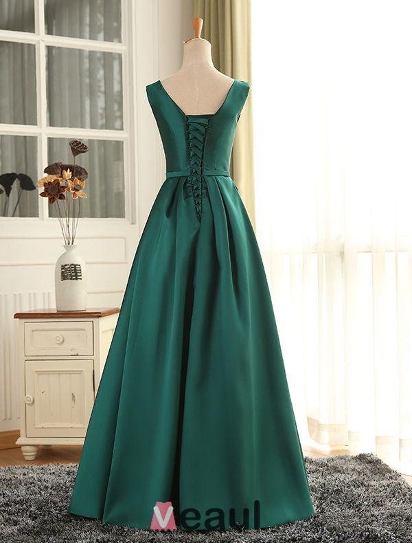 Evening Dress 2016 Simple Deep V-neck Ruffled Dark Green Satin Long Formal Dress With Sash