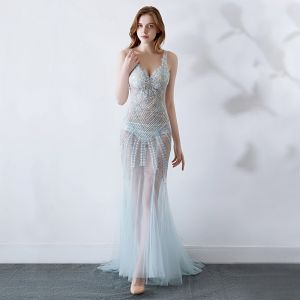 Sexy Sky Blue See-through Evening Dresses  2019 Trumpet / Mermaid V-Neck Sleeveless Backless Appliques Lace Beading Sweep Train Ruffle Formal Dresses