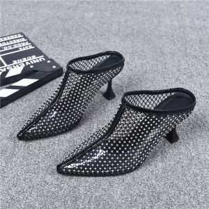 Amazing / Unique Black Casual 2019 Womens Sandals Leather Rhinestone 6 cm Stiletto Heels Pointed Toe Sandals