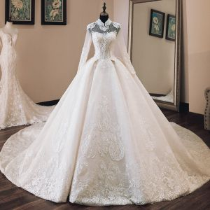 Luxury / Gorgeous Chinese style Ivory See-through Wedding Dresses 2019 Ball Gown High Neck Long Sleeve Backless Appliques Lace Beading Cathedral Train Ruffle