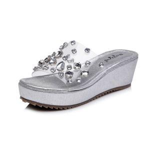 Scintillantes Argenté Jardin / Extérieur Sandales Femme 2017 Pantoufle PU Faux Diamant Peep Toes / Bout Ouvert
