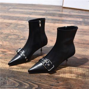Modern Zwarte Toevallig Lage Hak Dames Laarzen 2020 Leer Gesp 4 cm Naaldhakken / Stiletto Spitse Neus Laarzen