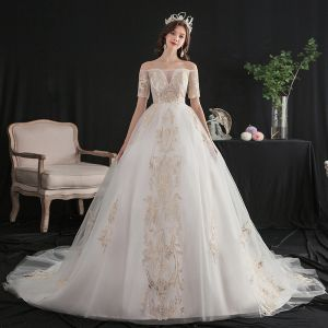 Affordable Ivory Wedding Dresses 2020 A-Line / Princess Off-The-Shoulder Short Sleeve Backless Glitter Appliques Lace Chapel Train Ruffle