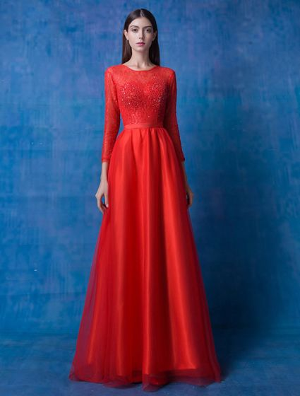 2016 Glamorous Scoop Neckline Long Sleeves Beading Lace Red Organza Evening Dress With Sash