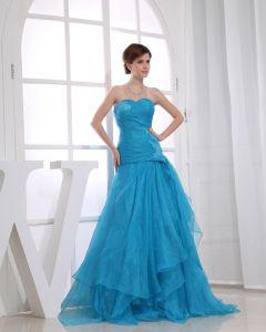 Strapless Zipper Sleeveless Applique Layered Floor Length Prom Dress