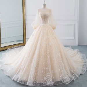 Romantic Champagne See-through Wedding Dresses 2019 A-Line / Princess Scoop Neck Puffy Long Sleeve Backless Appliques Lace Glitter Tulle Cathedral Train Ruffle