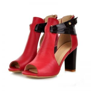 Abordable Rouge Désinvolte Sandales Femme 2020 10 cm Talons Épais Peep Toes / Bout Ouvert Sandales