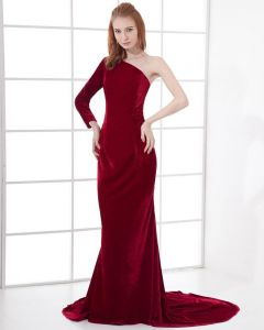 Fashion Spandex Solid Sloping Floor Length Celebrity Dress