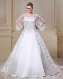 Satin Dentelle Fil Court De Cou De Place, Plus La Taille Robe De Mariage Nuptiale Robe