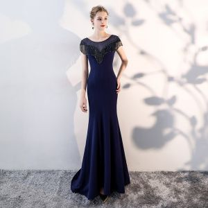Chic / Beautiful Ocean Blue Evening Dresses  2018 Trumpet / Mermaid Beading Tassel Scoop Neck Sleeveless Sweep Train Formal Dresses