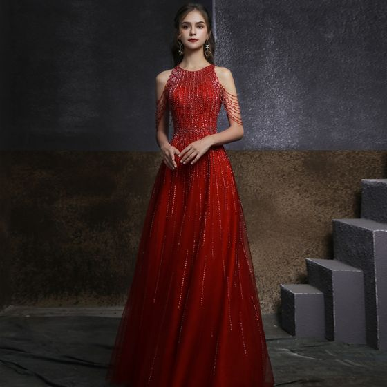 Chic / Beautiful Red Engagement Prom Dresses 2020 A-Line / Princess Scoop Neck Sleeveless Beading Sequins Floor-Length / Long Ruffle Formal Dresses
