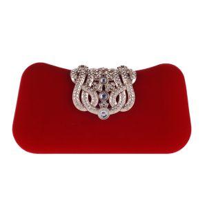 Mooie / Prachtige Rode Suede Rhinestone Metaal Handtassen 2018