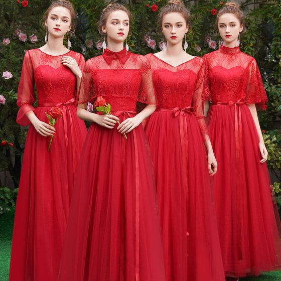 Discount Red See-through Bridesmaid Dresses 2019 A-Line / Princess Sash Floor-Length / Long Ruffle Backless Wedding Party Dresses