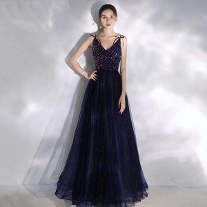 Charmant Bleu Marine Robe De Bal 2020 Princesse Perlage Paillettes Bretelles Spaghetti Noeud Sans Manches Longue Robe De Ceremonie
