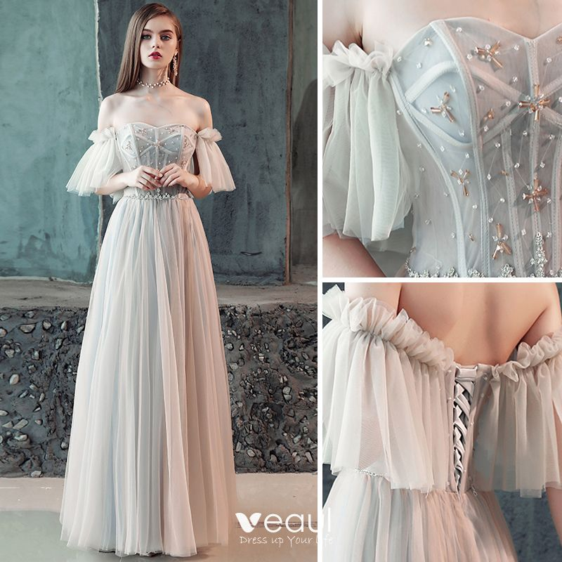 Elegante Grau Abendkleider 2018 A Linie Plissee ...