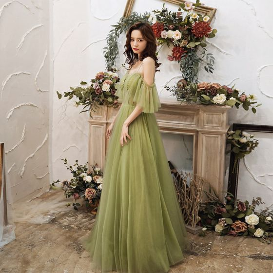 Modest / Simple Lime Green Dancing Prom Dresses 2021 A-Line / Princess See-through Spaghetti Straps Short Sleeve Floor-Length / Long Ruffle Backless Formal Dresses