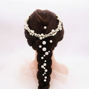 Chic / Beautiful Gold Headpieces Headbands Earrings Bridal Jewelry 2020 Alloy Pearl Rhinestone Wedding Accessories