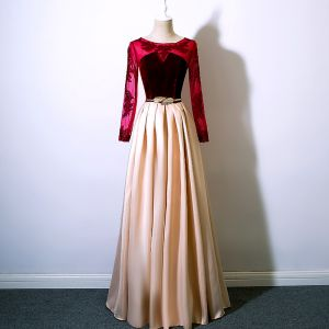 Modern / Fashion Burgundy Prom Dresses 2017 A-Line / Princess Scoop Neck Long Sleeve Appliques Lace Sequins Metal Sash Floor-Length / Long Ruffle Formal Dresses