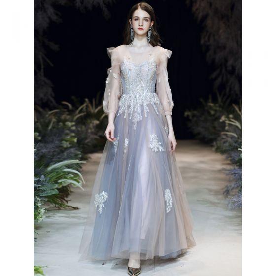 Elegancka Błękitne Sukienki Wieczorowe 2020 Princessa Wycięciem Perła Z Koronki Kwiat Aplikacje 3/4 Rękawy Bez Pleców Trenem Sweep Sukienki Wizytowe