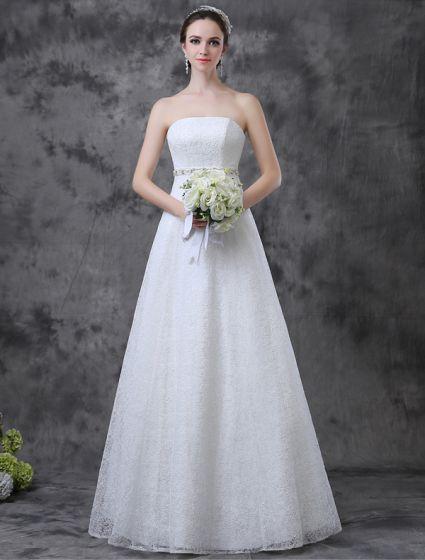 8b58011ab243 Enkel A-line Axelbandslös Strass Skärp Spets Bröllopsklänning