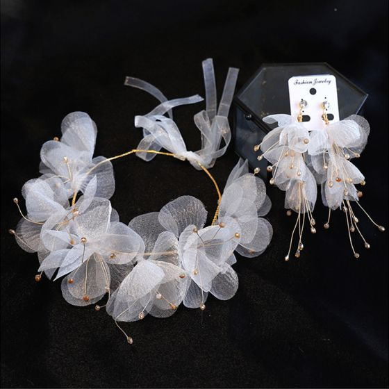 Chic / Beautiful Gold Headbands Bridal Hair Accessories 2020 Alloy Lace-up Silk Flower Beading Headpieces Earrings Bridal Jewelry