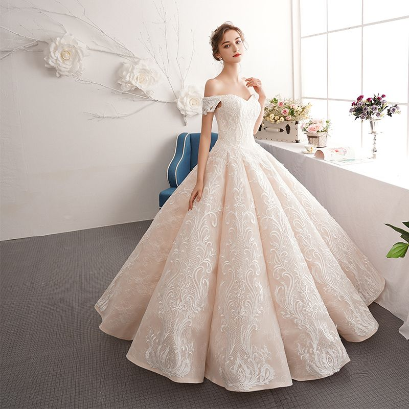 Best Champagne Wedding Dresses 2019 A-Line / Princess Off-The-Shoulder Short Sleeve Appliques Backless Beading Lace Floor-Length / Long Ruffle