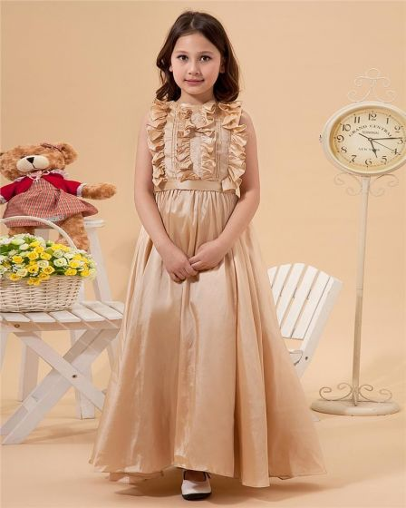 Beautiful Sleeveless Floor Length Taffeta Flower Girl Dress