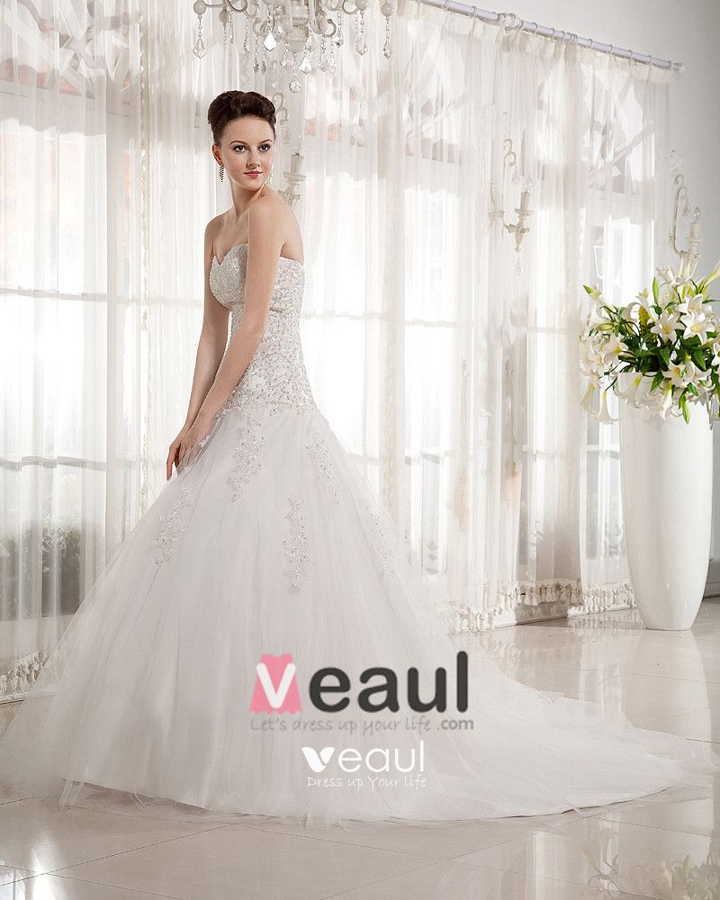 Beaded Sweetheart Chapel Train Bridal Ball Gown Wedding Dress