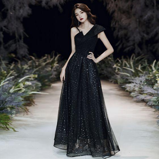Fashion Black Evening Dresses  2020 A-Line / Princess One-Shoulder Star Sequins Sleeveless Backless Floor-Length / Long Formal Dresses