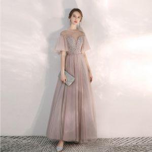 Elegante Rosa Abendkleider 2020 A Linie Durchsichtige Eckiger Ausschnitt Glockenhülsen Pailletten Perlenstickerei Lange Rüschen Rückenfreies Festliche Kleider