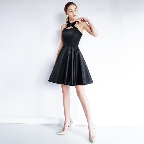 Charming Black Homecoming Graduation Dresses 2020 A-Line / Princess Sweetheart Bow Sleeveless Backless Short Formal Dresses