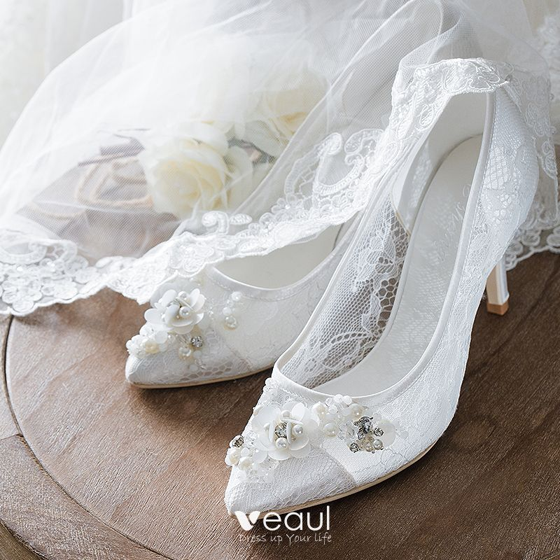 Luxury / Gorgeous White Lace Wedding Shoes 2018 Beading Rhinestone Pearl 10 cm Stiletto Heels Leather See-through Lace Pointed Toe Wedding Pumps