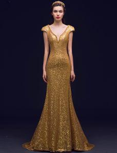 Glittrig Sjöjungfru Djup V-ringad Backless Guld Paljett Lång Aftonklänningar