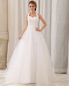 Elegant Fasta Applikationer Beading Paillette A-line Grimma Dragkedja Bak Domstol Tag Satin Brudklänningar Bröllopsklänningar