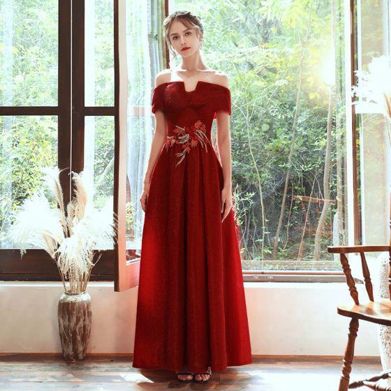 Schöne Rot Abendkleider 2020 A Linie Off Shoulder Kurze Ärmel Applikationen Spitze Perlenstickerei Glanz Polyester Lange Rüschen Rückenfreies Festliche Kleider