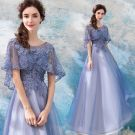 Elegant Lavender See-through Prom Dresses With Shawl 2018 A-Line / Princess Scoop Neck 1/2 Sleeves Appliques Lace Pearl Ankle Length Ruffle Backless Formal Dresses