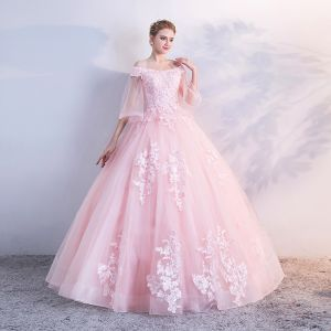 Chic / Beautiful Candy Pink Puffy Prom Dresses 2018 Ball Gown Lace Appliques Sequins Off-The-Shoulder Backless 1/2 Sleeves Floor-Length / Long Formal Dresses