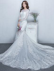 Wspaniały Syrena Suknie Ślubne 2017 Miarka Dekolt Białe Koronkowe Suknie Ślubne Z Rękawami