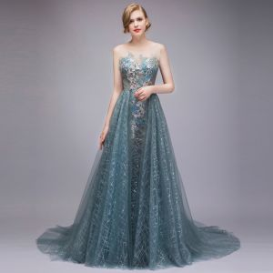 Sparkly Ink Blue Evening Dresses  2018 A-Line / Princess See-through Beading Sequins Pearl Lace Appliques Scoop Neck Sleeveless Backless Court Train Formal Dresses