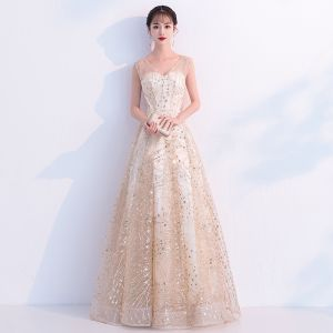 Bling Bling Champagne See-through Prom Dresses 2019 A-Line / Princess V-Neck Sleeveless Glitter Tulle Metal Sash Floor-Length / Long Ruffle Backless Formal Dresses