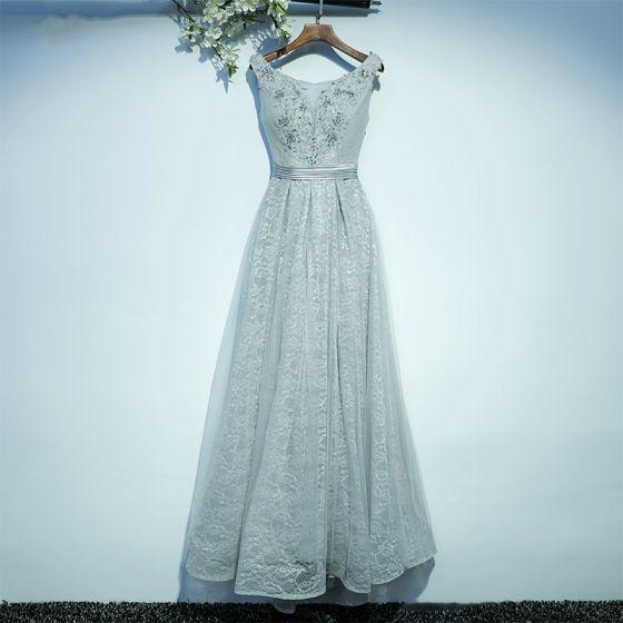 Schlicht Grau Brautjungfernkleider 2017 A Linie Mit Spitze Blumen Riemchen Rundhalsausschnitt Ärmellos Knöchellänge Kleider Für Hochzeit