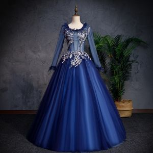 Elegant Navy Blue Prom Dresses 2019 A-Line / Princess Scoop Neck Lace Flower Pearl Long Sleeve Backless Floor-Length / Long Formal Dresses