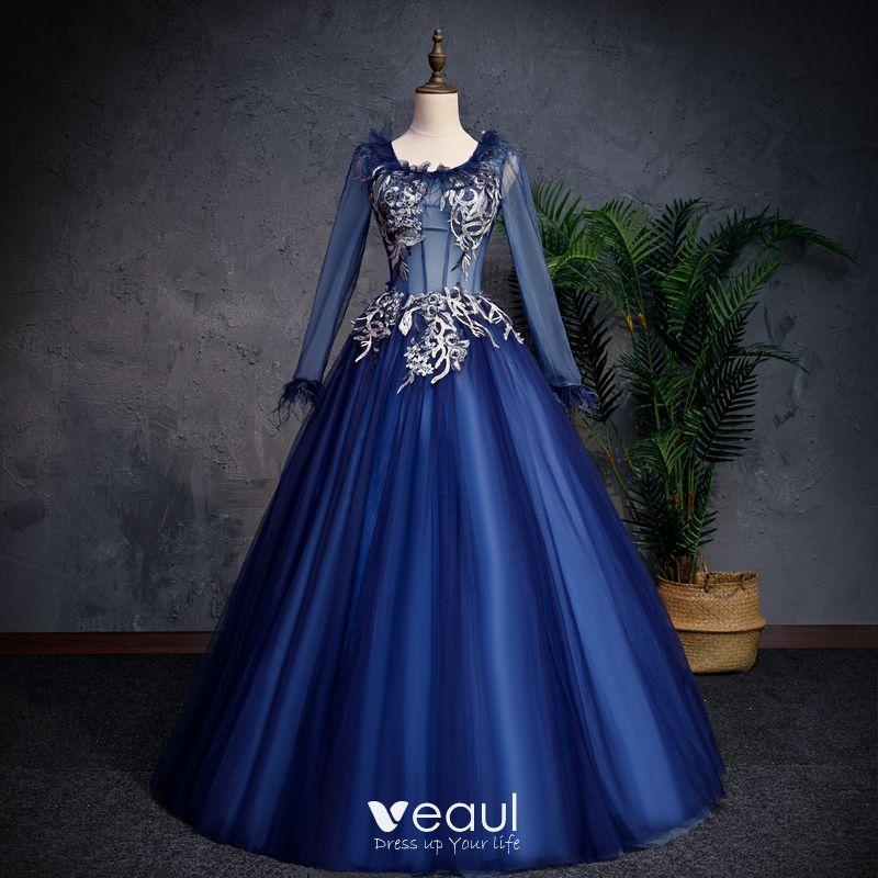 d16601a32cc Elegant Navy Blue Prom Dresses 2019 A-Line / Princess Scoop Neck ...