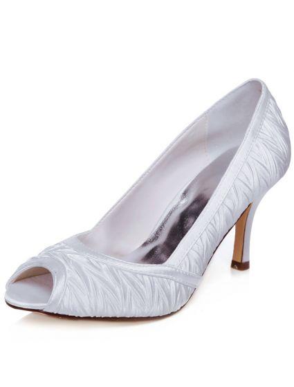 Beautiful Satin Wedding Shoes 2016 Stiletto Heels Pumps White Bridal Shoes Peep Toe