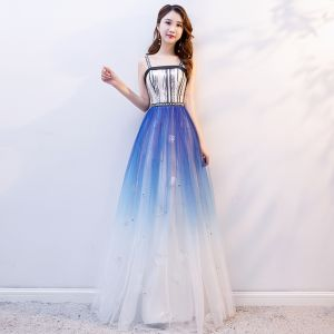 Elegant Gradient-Color Prom Dresses 2019 A-Line / Princess Spaghetti Straps Sequins Sleeveless Backless Floor-Length / Long Formal Dresses